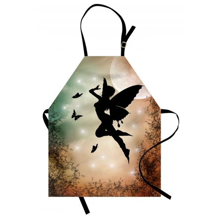 Nature Apron Black Fairy with Angel Wings Butterflies and Sun like Alluring Round Artwork Print, Unisex Kitchen Bib Apron with Adjustable Neck for Cooking Baking Gardening, Multicolor, by Ambesonne - Butterfly With Angel Wings