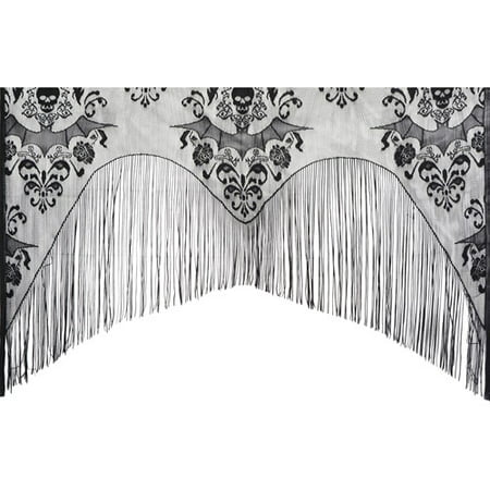 Lace Damask Curtain Halloween Decoration - Cheap Outside Halloween Decorations