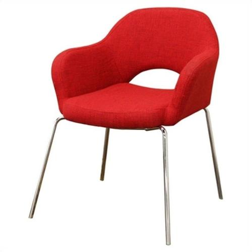 Baxton Studio Executive  Fabric Arm Lounge Chair in Red