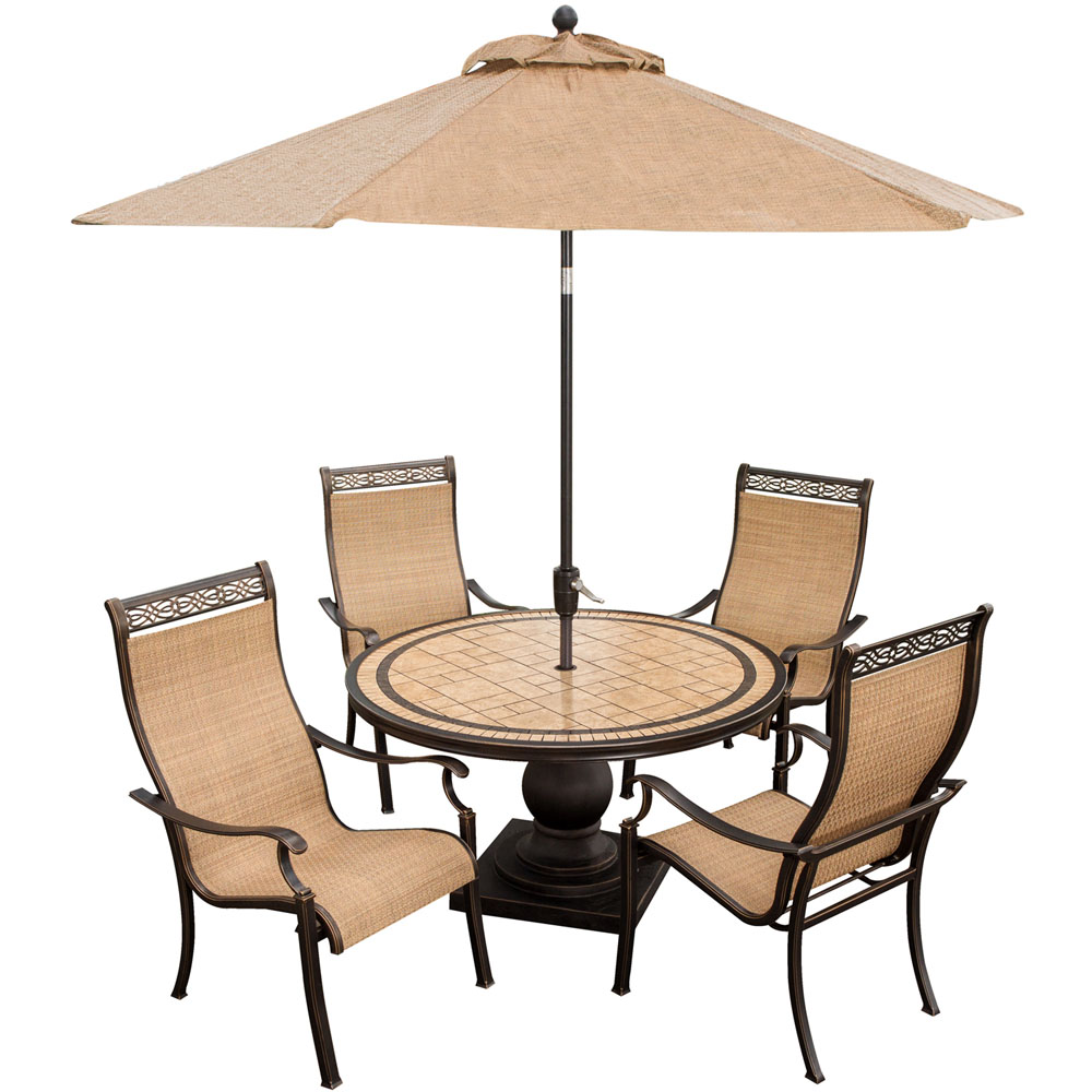 Hanover Monaco 5-Piece Outdoor Dining Set with Table Umbrella