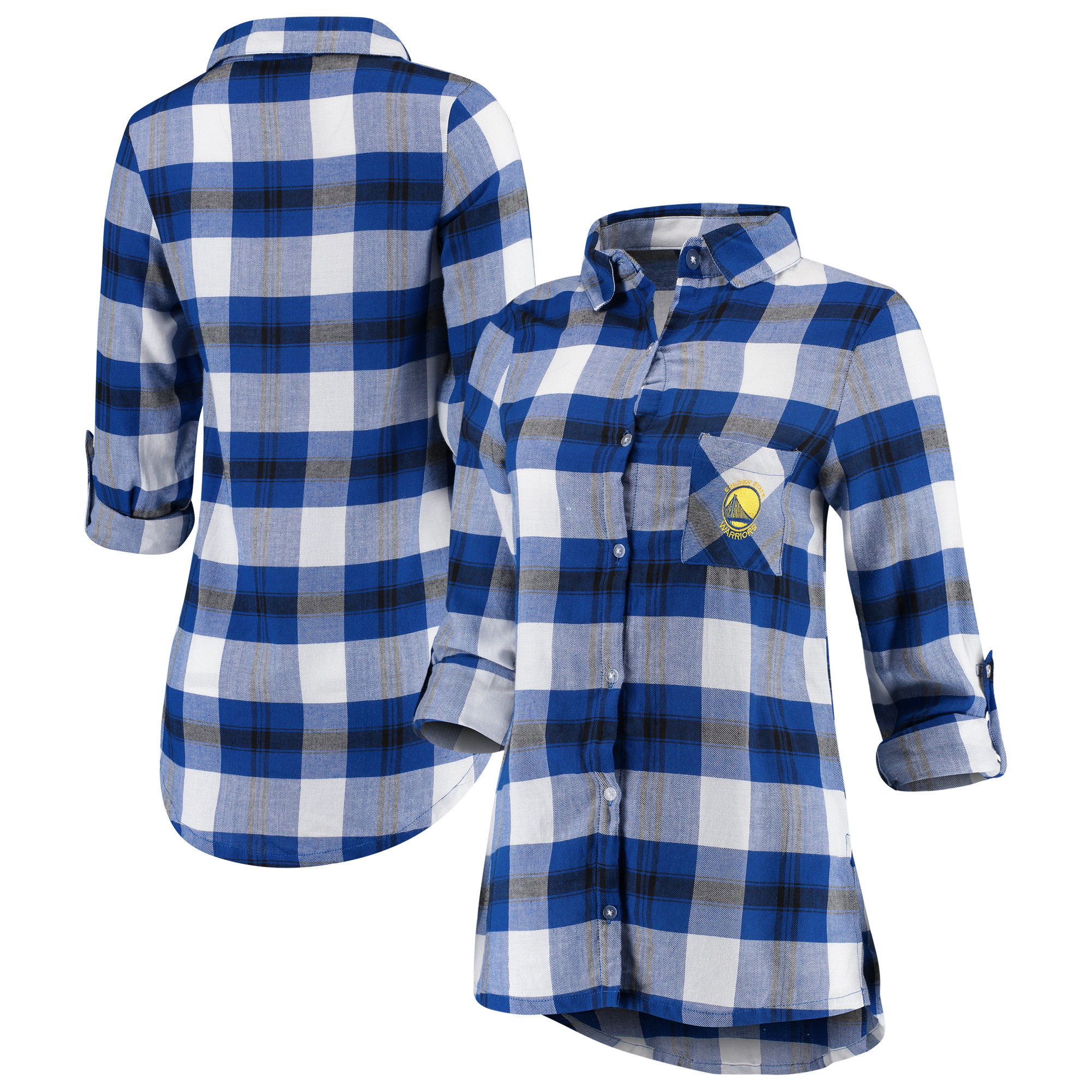 Golden State Warriors Concepts Sport Women's Headway Long Sleeve Plaid Tunic - Royal/Black