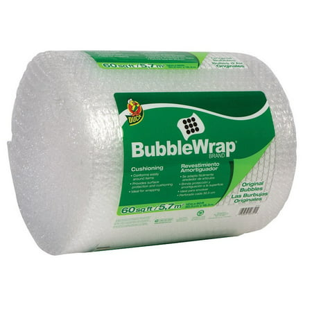 Duck Original Bubble Wrap Cushioning, 12 in. x 60 ft., Clear