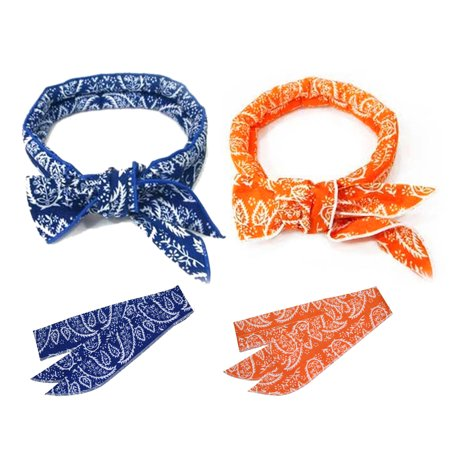 Pack of 2, The Elixir Chill Ice Cool Wrap Cooling Scarf Evaporative Cool Bandana (Blue, Orange)
