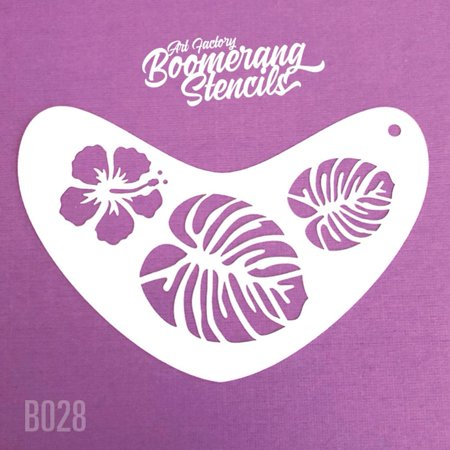 Art Factory Boomerang Stencil - Tropical Flower, Reusable Face Painting Stencil, Great for Fairs, Carnivals, Party and Halloween](Halloween Witch Face Painting Ideas)