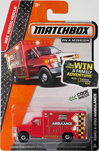 Red AMBULANCE TRUCK FORD E-350 Matchbox 2014 MBX HEROIC RESCUE Series Fire Dept. Squad 1... by Mattel