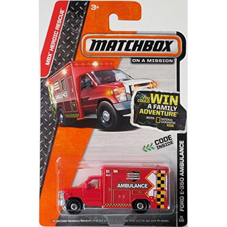 Red AMBULANCE TRUCK FORD E-350 Matchbox 2014 MBX HEROIC RESCUE Series Fire Dept. Squad 1 Paramedic '08 FORD E-350 AMBULANCE 1:64 Scale Collectible Die Cast Metal Toy Car Model #75/120 Fire Truck Collectibles