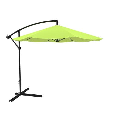 Pure Garden Cantilever Patio Umbrella, 10 ft. Aluminum, Easy Crank, Green