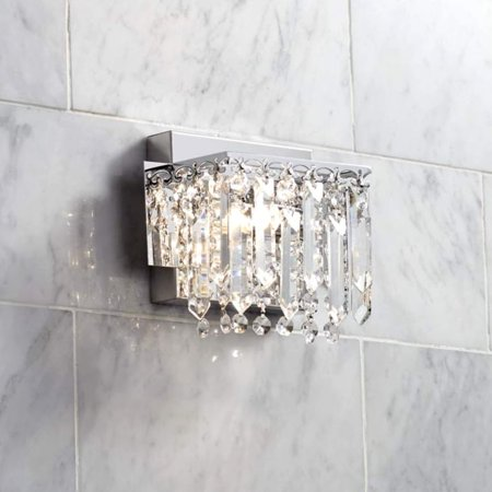 Possini Euro Design Modern Wall Light Sconce Chrome Hardwired 6