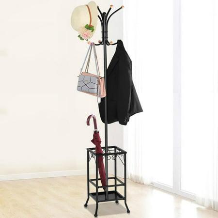 Yaheetech Coat Rack Umbrella Floor Stand Tree Hat Hooks Hangers Best Coat Rack Metal Black