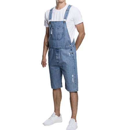 JDinms Mens Bib Overalls Denim Jumpsuit Ripped Distressed Shorts