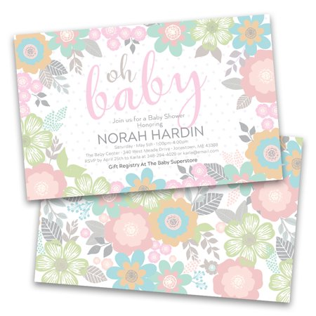Christmas Baby Shower Invitations (Personalized Pastel Floral Baby Personalized Baby Shower)