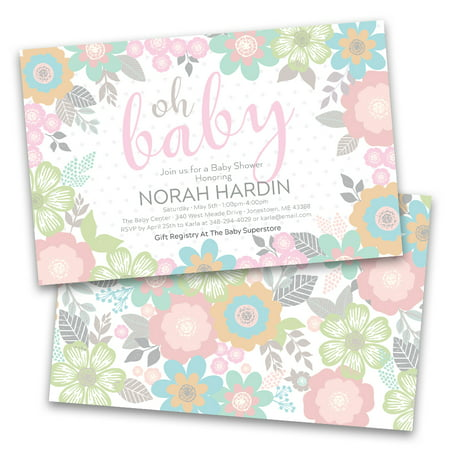 Personalized Pastel Floral Baby Personalized Baby Shower Invitations - Personalized Toddler Scrubs