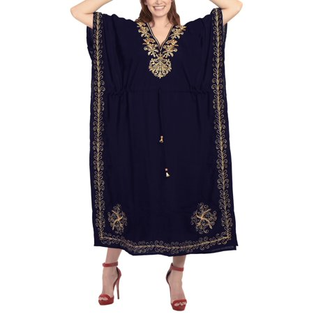 Embroidered Maxi - Womens Embroidered Plus Size Maxi Rayon Kaftan Dress Free Size Gown Casual Ladies Caftan