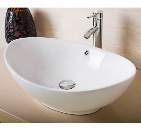 Modern Bathroom Oval Ceramic Porcelain Vessel Sink Bowl w/Chrome Faucet Combo White