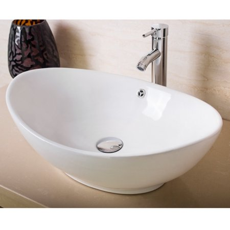 Modern Bathroom Oval Ceramic Porcelain Vessel Sink Bowl W Chrome Faucet Combo White
