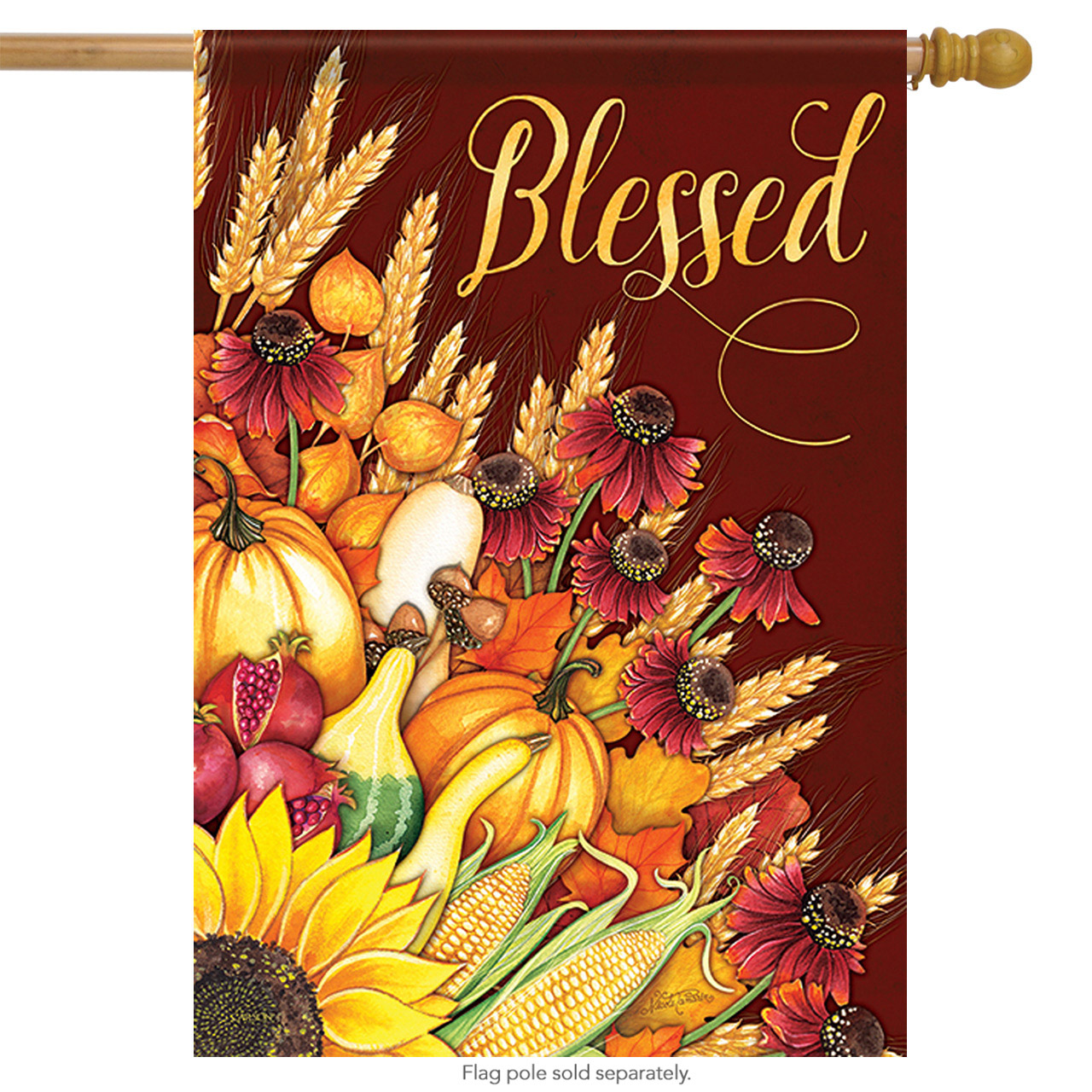 "Wheat Bouquet Blessed Fall House Flag Thanksgiving Cornucopia Autumn 28"" X 40"""
