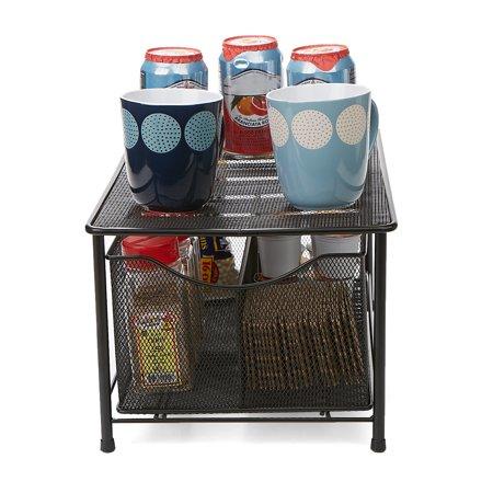 Mind Reader Storage Basket w/ Sliding Drawer and Steel Mesh Platform On Top, Black ()