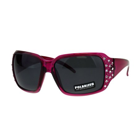 SA106 Polarized Lens Oversize Rhinestone Bling Iced Out Womens Sunglasses Fuchsia Black