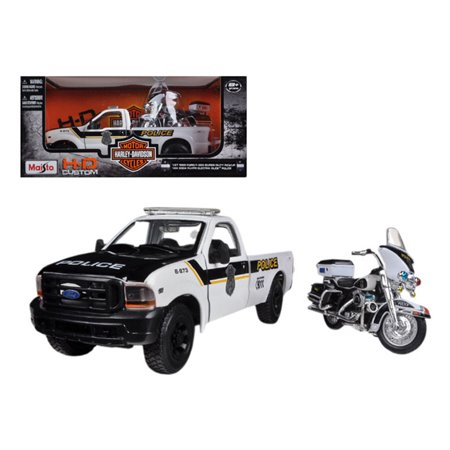1999 Ford F-350 Super Duty Pickup Truck 1/27 and 1/24 2004 Harley Davidson FLHTPI Electra Glide Motorcycle Police by