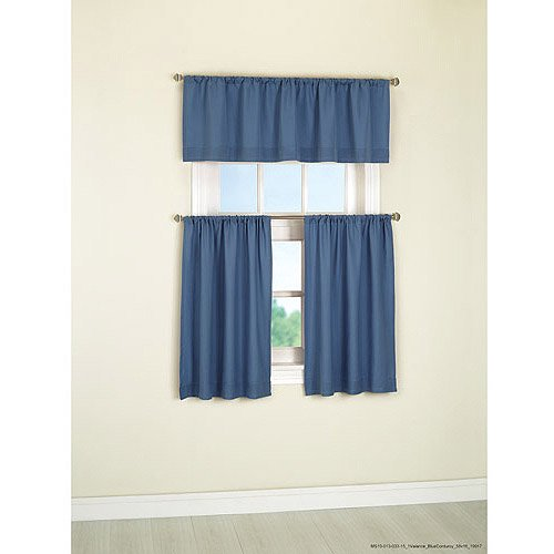 Blue Green Kitchen Curtains: Mainstays Microfiber Kitchen Curtains