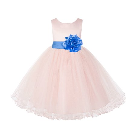 Blush Pink Tulle Rattail Edge Formal Flower Girl Dress Party Gown (Tiffany Rose Gold)