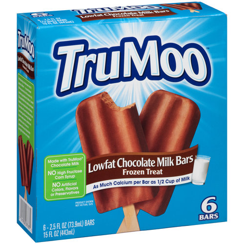TruMoo Lowfat Chocolate Milk Bars Ice Cream, 2.5 fl oz, 6 ct