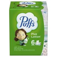 Puffs Plus Lotion Facial Tissue, 6 Family Boxes, 124 Facial Tissues Per Box