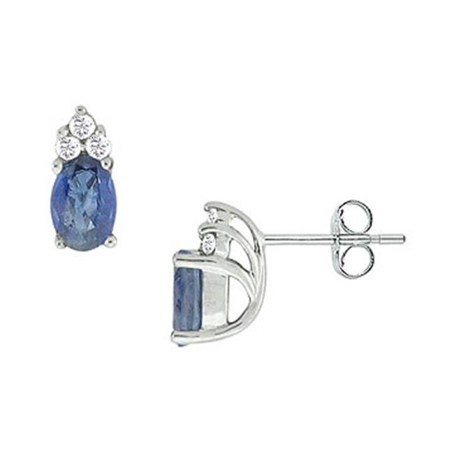 Fine Jewelry Vault SCIC562S Blue Sapphire and Diamond Earrings - 14K White Gold - 1. 00 CT TGW