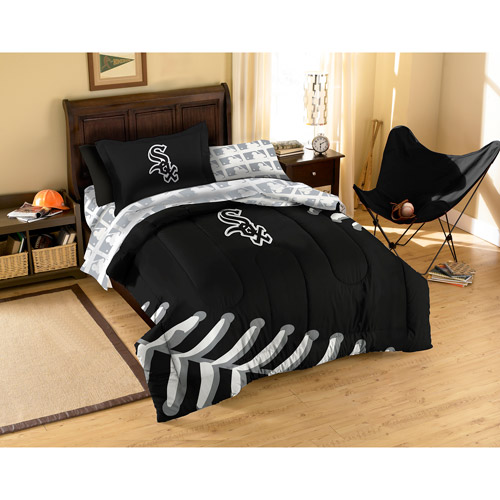 MLB Applique Bedding Comforter Set with Sheets, White Sox