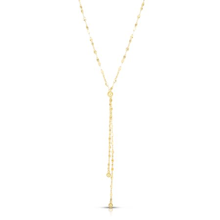 14KT Solid Yellow Gold Mirror Chain Adjustable Lariat Necklace, Made In Italy