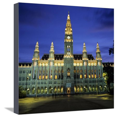 Rathaus (Town Hall) Gothic Building at Night, UNESCO World Heritage Site, Vienna, Austria, Europe Stretched Canvas Print Wall Art By Stuart - Johnson Brothers Heritage Hall