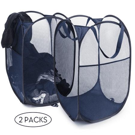 SHINEURI Pop-Up Laundry Hamper 2 Pieces Folding Mesh Hamper Laundry Storage Basket with Durable Handles for bathroom,Dorm,Kids toys, books or magazines (Blue) ()