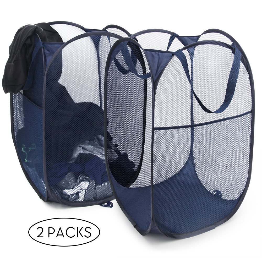 2-Pack SHINEURI Pop-Up Laundry Hamper with Durable Handles (Blue)