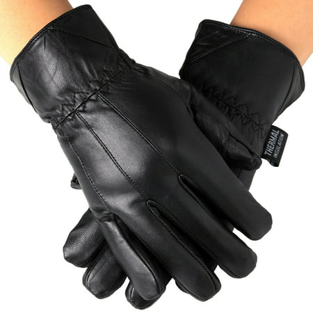 Alpine Swiss Mens Touch Screen Gloves Leather Thermal Lined Phone Texting - Black Lighting Gloves