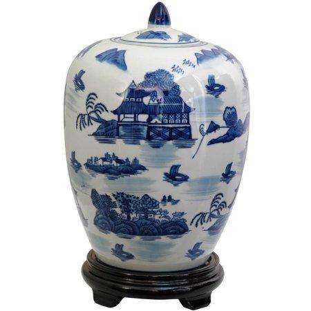 11 in. High Blue & White Landscape Porcelain Vase Jar](Oriental Vase)