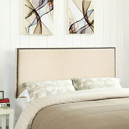 Modern Contemporary Queen Size Nailhead Upholstered Headboard, Ivory Fabric