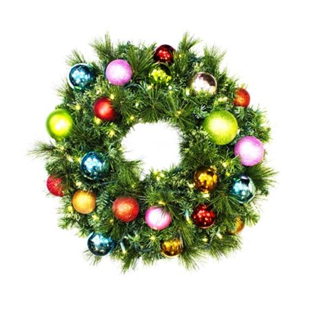 Pre-Lit Warm White LED Sequoia Wreath Decorated With The Tropical Ornament Collection](Tropical Wreath)