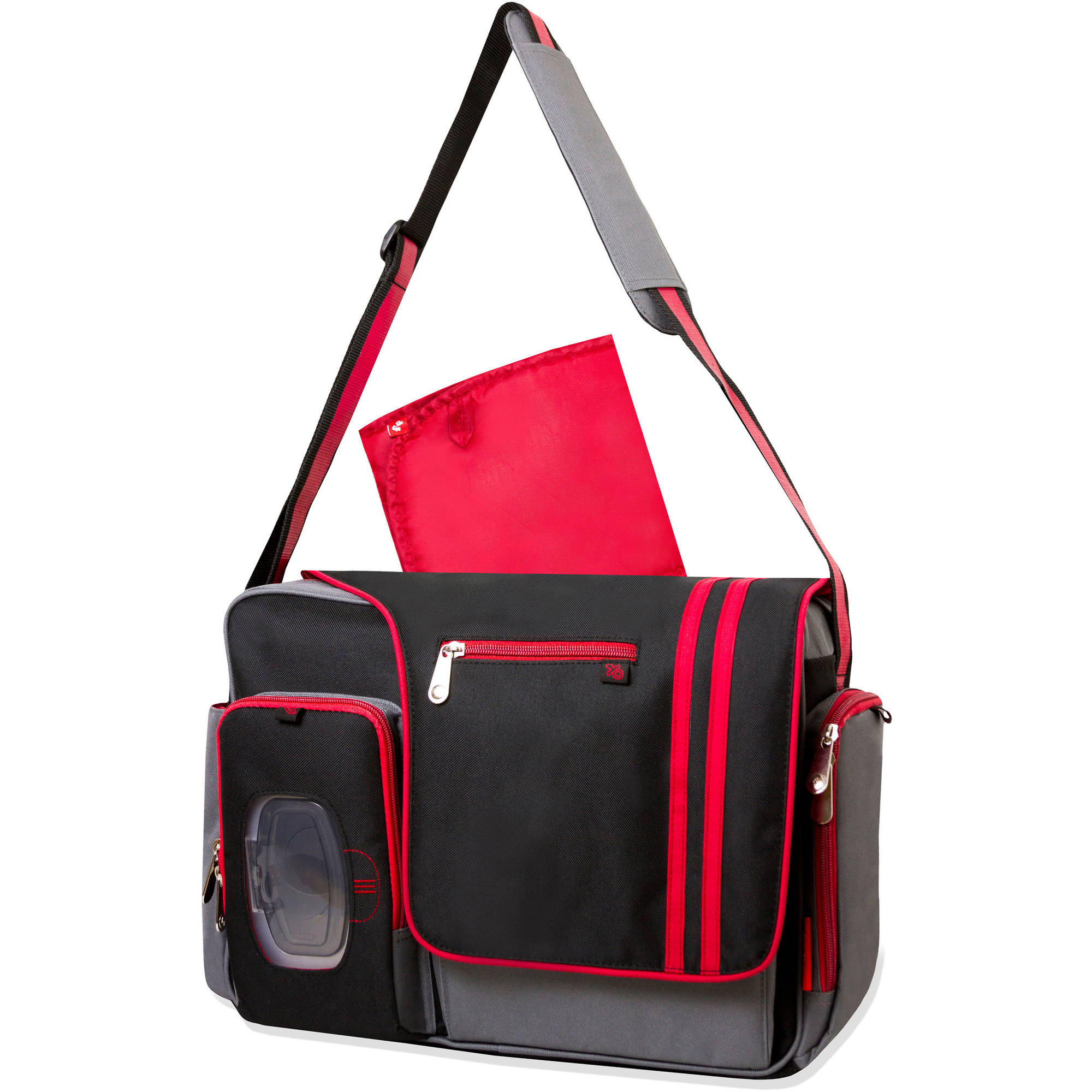 Fisher-Price Messenger Diaper Bag, Gray/Black/Red - Walmart.com