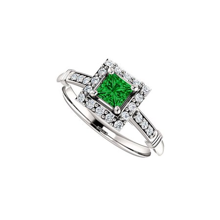 Bold Square Emerald CZ Halo Ring in 14K White (Bold Square Ring)