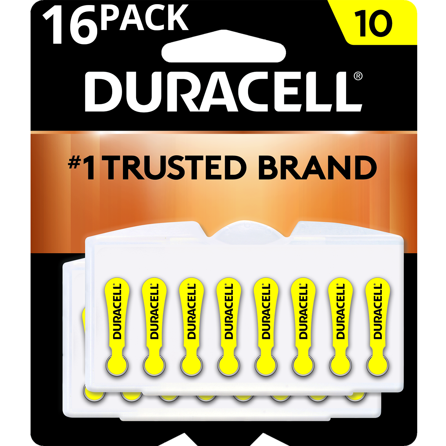 Duracell Hearing Aid Batteries with Easy-Fit Tab Size 10 16 Pack