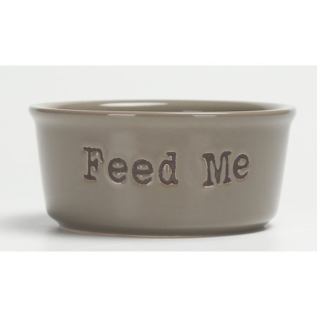 - Vibrant Life Ceramic Feed Me Pet Bowl, Gray, Small
