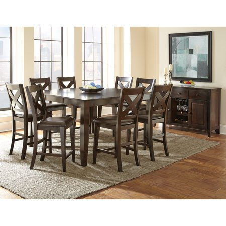 Steve Silver Crosspointe 9 Piece Counter Height Dining Table Set With Optional Server Dark Espresso Cherry