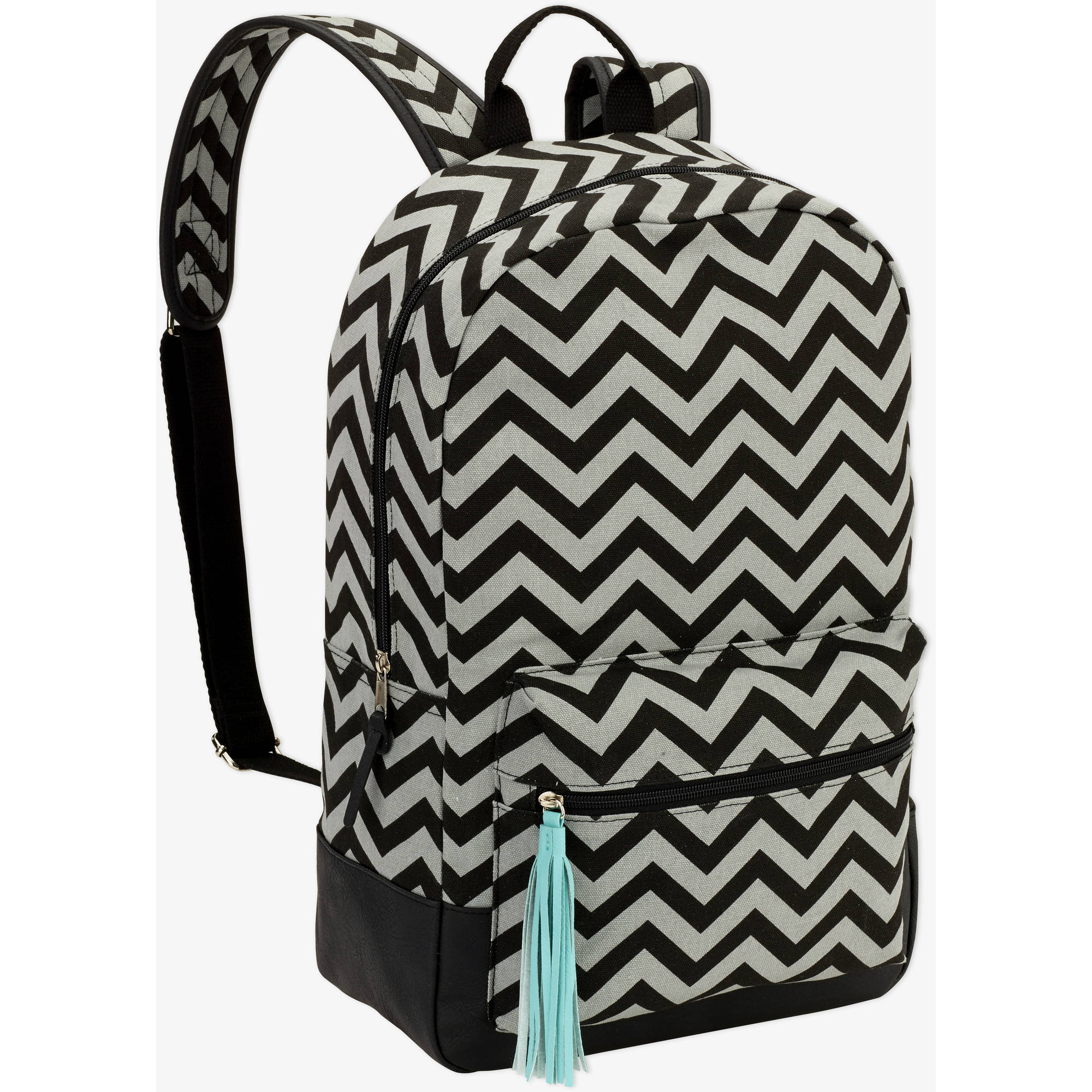 """No Boundaries 18"""" Printed Canvas  Dome Backpack with Tassel"""