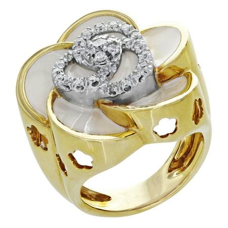 Roberto Coin 18K Yellow Gold Original Diamond Flower Ring 0.35 Cttw Size