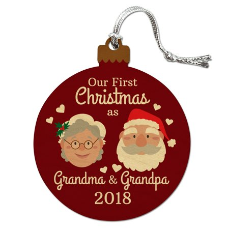 First Christmas as Grandma Grandpa 2018 Santa Mrs. Claus Wood Christmas Tree Holiday Ornament