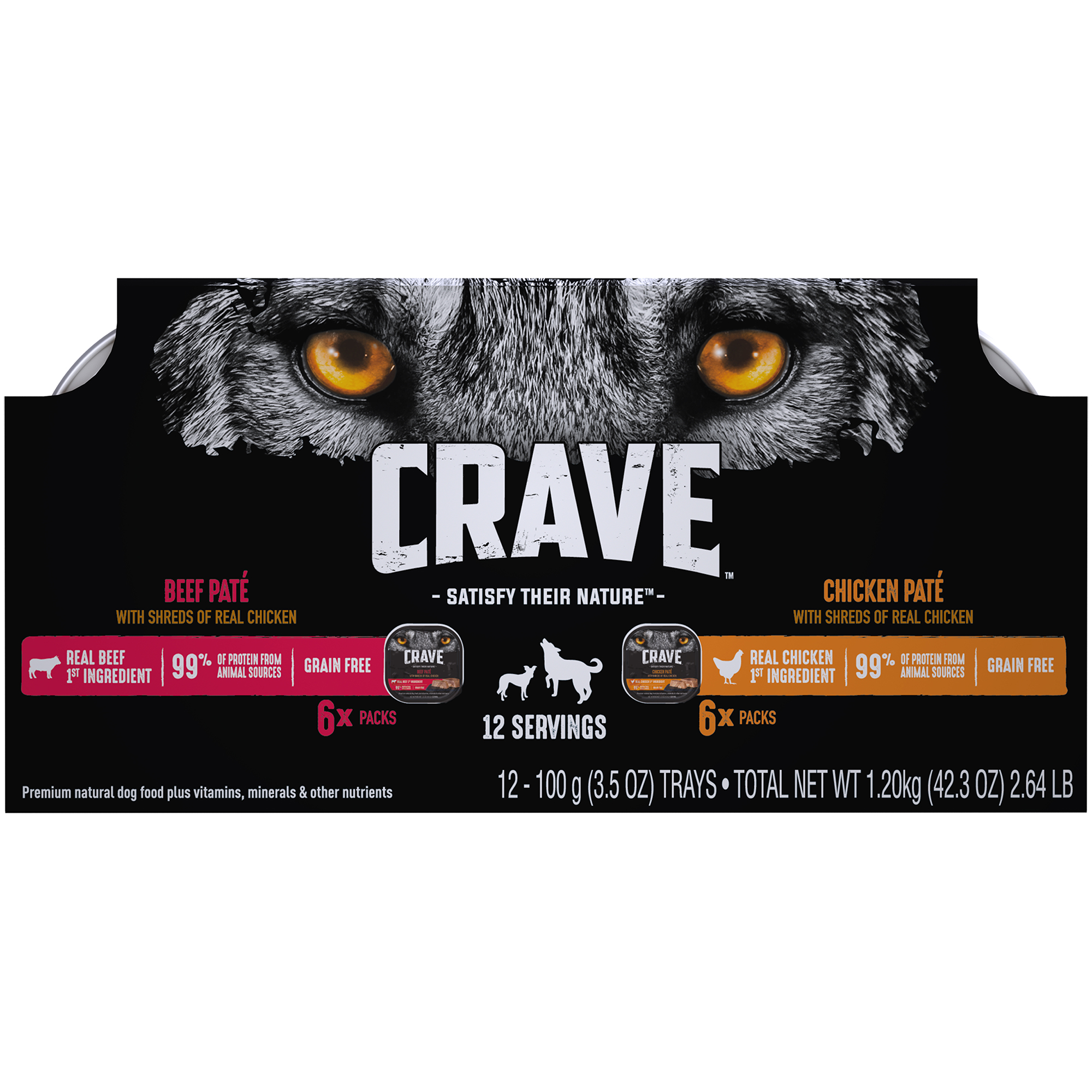 CRAVE Grain Free Adult Wet Dog Food Chicken & Beef Pates with Shreds of Real Chicken Variety Pack, (12) 3.5 oz. Trays
