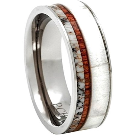 Titanium Deer Antler Ring with Koa Wood Inlay Flat Top 8mm Wedding Band Comfort Fit (9.5)