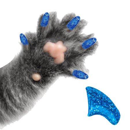 Soft Claws Nail Caps - 60 Pack Sapphire Glitter Soft Nail Caps for Cats Pretty Claws - Medium