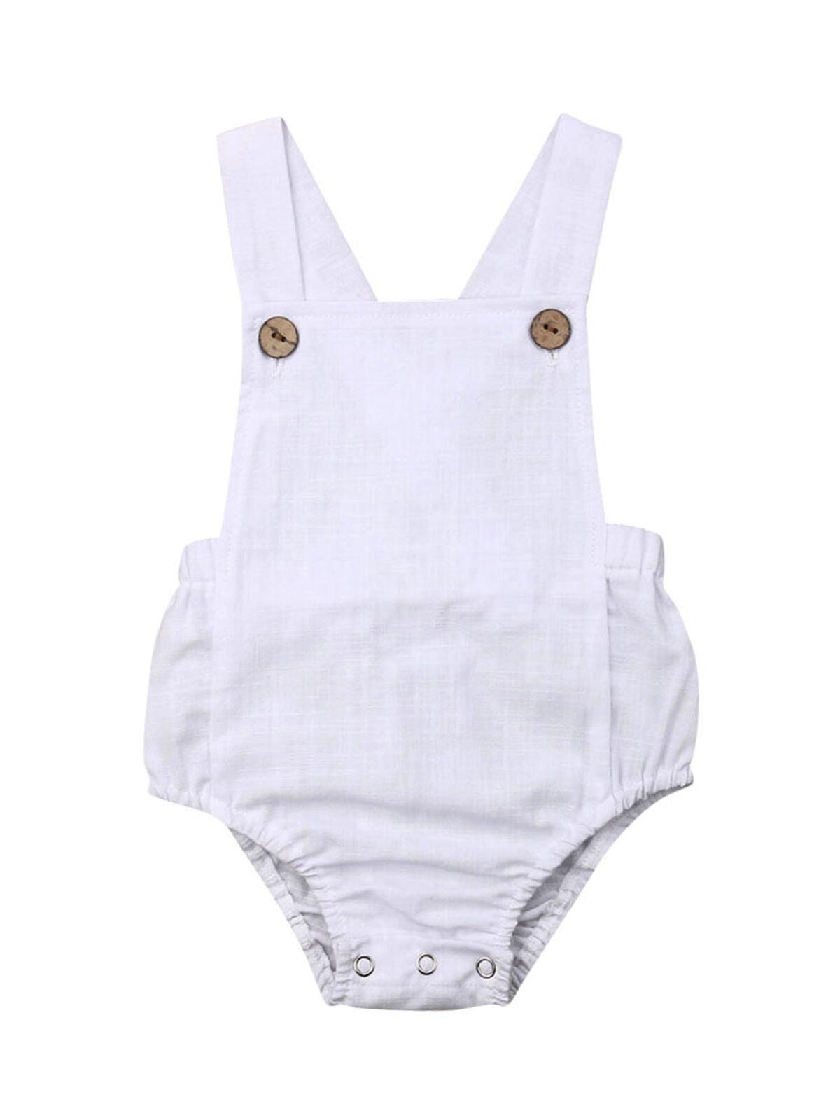 Toddler Newborn Baby Girls Boys Sleeveless Solid Strap Bodysuit Romper Clothes