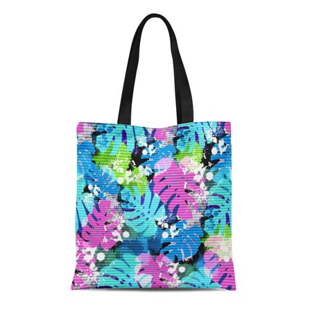 NUDECOR Canvas Tote Bag Colorful Beach Palm Leaves Tropical Watercolor Effect and Pattern Reusable Shoulder Grocery Shopping Bags Handbag - image 1 de 1